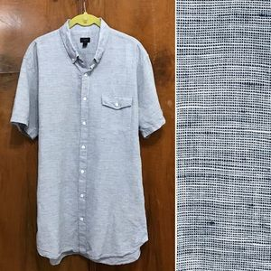 J Crew men's blue short sleeved linen/cotton XLT
